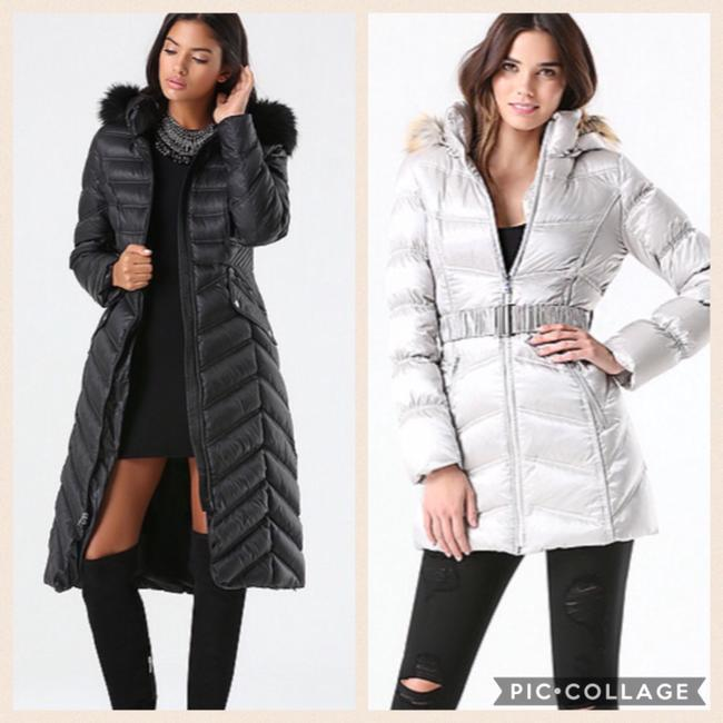Item - Silver and Black Hooded Puffer Chevron Stitch Puffer Coat Size 6 (S)