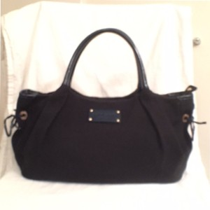 Kate Spade Canvas Leather Tote Patent Leather Satchel in Black & Navy Blue