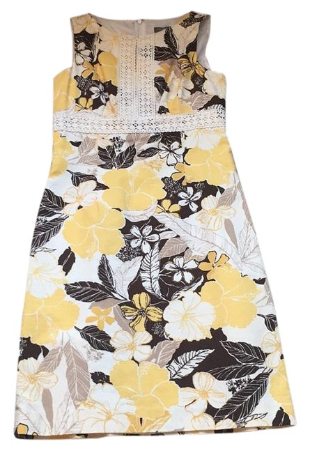 Preload https://img-static.tradesy.com/item/20117304/ann-taylor-mustard-brown-tan-and-ivory-floral-knee-length-workoffice-dress-size-petite-0-xxs-0-1-650-650.jpg