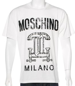 Moschino Monogram Logo Cotton Letter T Shirt White, Black