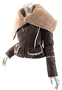 Burberry Prorsum Sheepskin Brown Leather Jacket