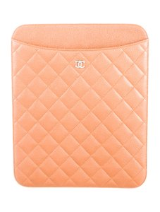 Chanel Caramel Caviar quilted leather Chanel iPad sleeve case