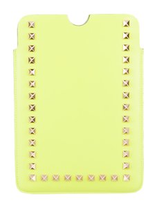 Valentino Neon yellow leather Valentino Rockstud iPad mini case