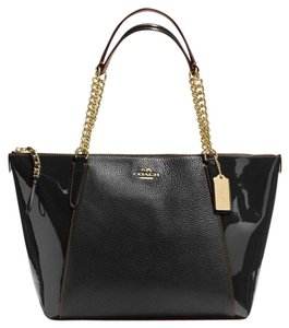 Coach Patent Chistmas Tote in Black