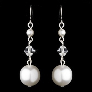 Elegance By Carbonneau White Pearl And Crystal Wedding Earrings