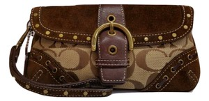 Coach Signature Studded Wristlet in Brown and Tan