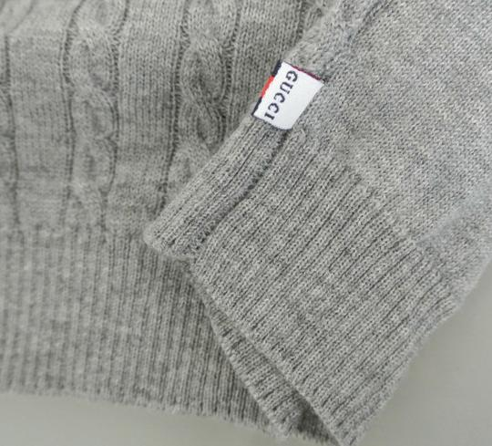 Gucci Gray New Kids Long Sleeve V-neck Sweater Top W/Web 3-6 Month 270241 Groomsman Gift
