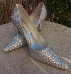 Silver Satin Swarovski Crystal Shoes Pumps Heels 9 New Wedding Shoes
