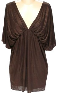 Laundry by Shelli Segal Draped V-neck Metallic Dress