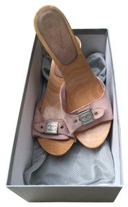 Chanel Suede Wood Light Pink Mules