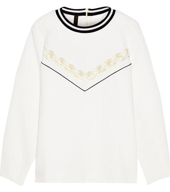 Item - Off-white Waffle-knit Cotton-blend White Sweater