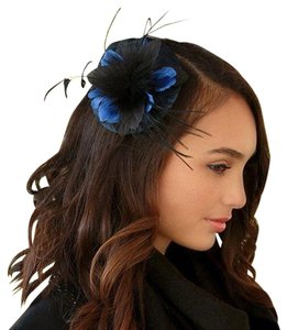 Other Fascinator Hat Blue and Black Fur Feather Flower and Lace Detail