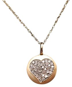 Signed 14K Gold Pendent w/Pave' Diamond 'Heart' Necklace