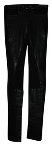 Helmut Lang Leather Leggings Skinny Pants black