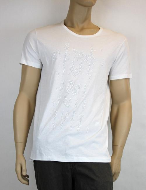 Item - White New Men's Studded Tee Top It 52/Us 42 307967 Shirt
