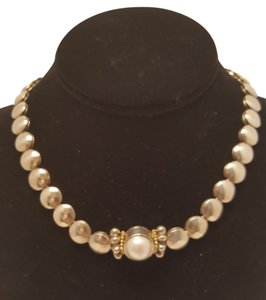 Lagos Caviar Sterling Silver and 18kt Gold Mabe Pearl Necklace