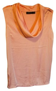 The Limited Sleeveless Draped Military Satin Pink Top Peach