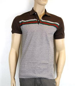 Gucci New Authentic Men's Diamante Polo Shirt Top W/ Grg Web 2xl 251623 2479