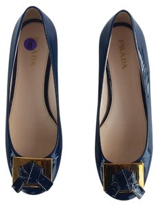 Prada Patent Leather Navy Flats