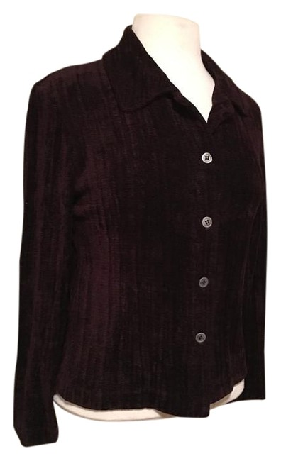 Preload https://img-static.tradesy.com/item/20118310/cynthia-max-wine-chenille-cotton-notched-collar-4-button-cardigan-size-6-s-0-1-650-650.jpg