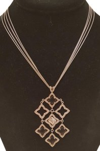 David Yurman Quatrefoil Pave' Diamond and Onyx Pendant Necklace
