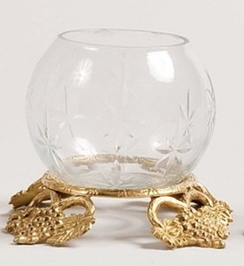 Eight (8) Gold Votive Stands With Etched Glass Globes