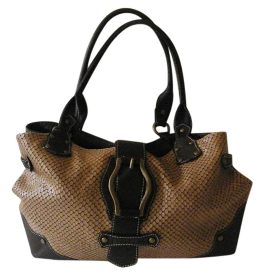 04046e64f890 Puntotres Reptile Embossed Brown Leather Hobo Bag