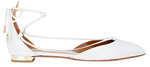 Aquazzura Patent Patent Leather Gold Hardware Leather Studded Patent White Flats