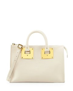 Sophie Hulme White Leather New With Tags Gold Hardware Satchel in Ivory
