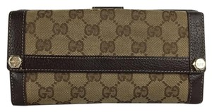 Gucci Gucci Brown Signature Checkbook Wallet