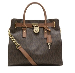 Michael Kors Hamilton Signature Leather Satchel in Brown