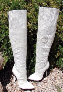 London Trash Leather Thigh High white Boots