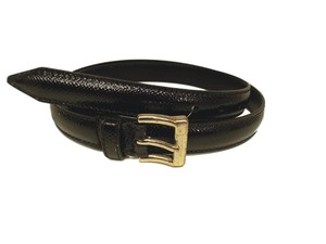 Burberry BURBERRY Patent Leather Belt with Gold Buckle