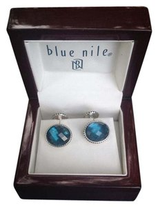 Blue Nile Oval London Blue Topaz Cuff Links in Antiqued Sterling Silver
