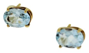 Other Antique Oval Aquamarine Stud Earring- 14k Yellow Gold