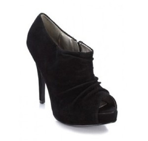 Dollhouse Peep Toe Ankle Ankle Black Boots