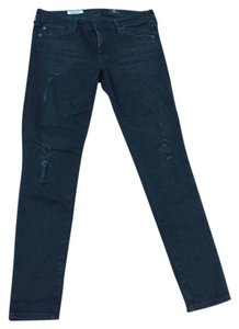 AG Adriano Goldschmied Distressed Holes Ankle Skinny Jeans-Distressed