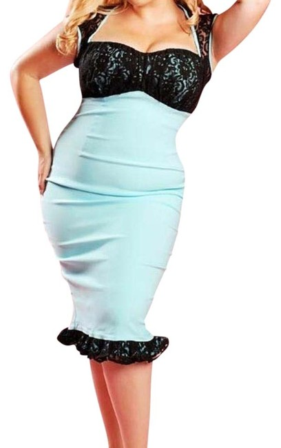 Item - Tiffany Blue with Black Lace Micheline Knee Length Night Out Dress Size 22 (Plus 2x)
