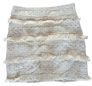 Anthropologie Boho Bohemian Fringe Skirt Creme