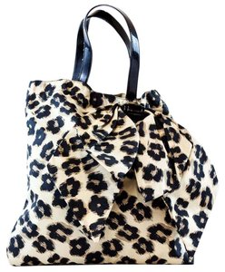RED Valentino Valentino Leopard Print Animal Print Tote in Black/Tan