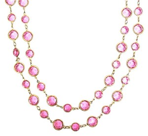 Chanel Vintage Pink Crystal and Gold Plate Long Necklace, Sautoir