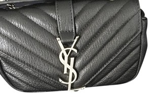 Saint Laurent Monogram Baby Matelasse Black and Silver Cross Body Bag. Cross Body Bag