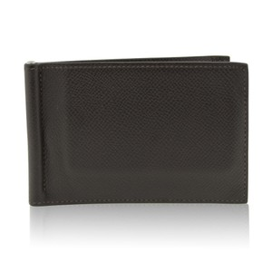 Hermès Hermes Poker Bill Clip Brown Evergrain Calfskin Men's Wallet