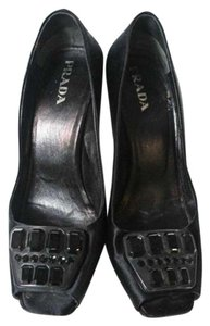 Prada Satin Jeweled Heels Made In Italy Black Pumps