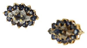 Other Antique Victorian Sapphire And Diamond Stud Earring- 14k Yellow Gold