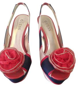 Guess Red, cream and blue Platforms