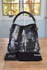 Chanel Caviar Leather Cc Tote in Black & Silver