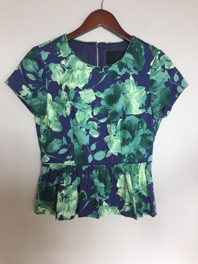64d7f0483cf best J.Crew Blue Green Peplum In Fresco Floral Sateen Top - 71% Off ...