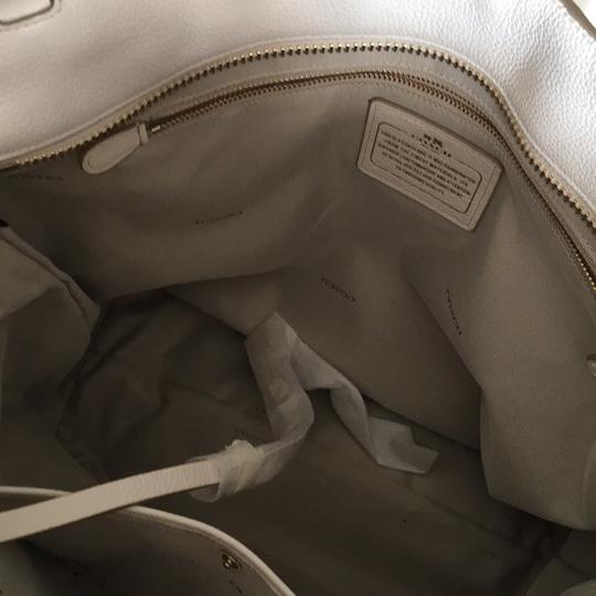 Coach Tote in White And Gold
