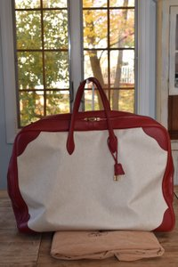 Hermès Luggage Travel Victoria 60 Rouge Vif and Off White Canvas w/ Gold hardware Travel Bag